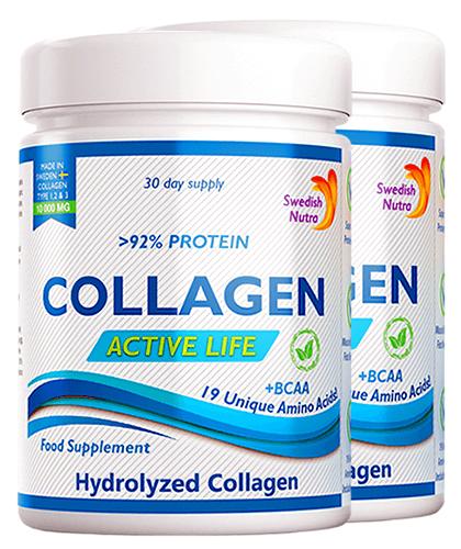 Pachet 2 x Colagen Hidrolizat Pulbere Tip 1, 2 și 3 Active Life cu 10.000 Mg, 300g | Swedish Nutra
