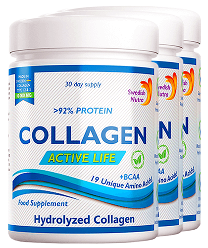 Pachet 3 x Colagen Hidrolizat Pulbere Tip 1, 2 și 3 Active Life cu 10.000 Mg, 300g   Swedish Nutra