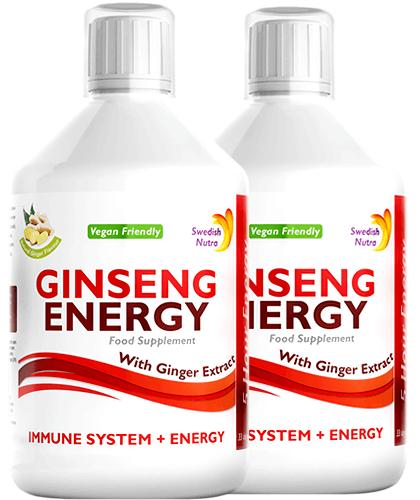 Pachet 2 x Ginseng Energy 2000 Mg cu Ginseng Siberian + Panax Ginseng + Ghimbir + Vitamine – Energie și Vitalitate – Produs Vegan, 500 ml   Swedish Nutra
