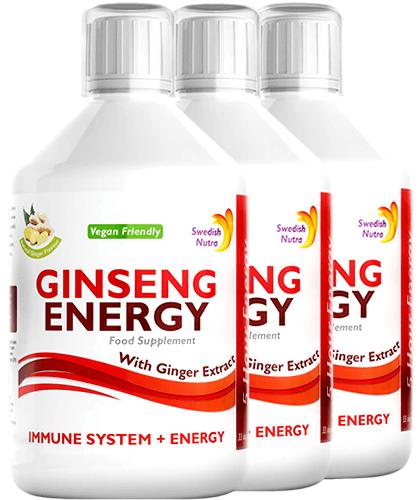 Pachet 3 x Ginseng Energy 2000 Mg cu Ginseng Siberian + Panax Ginseng + Ghimbir + Vitamine – Energie și Vitalitate – Produs Vegan, 500 ml   Swedish Nutra