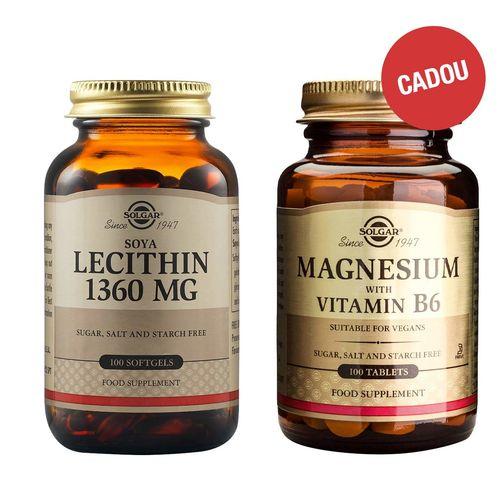 Pachet Lecitină din Soia 1360mg, 100 capsule + CADOU Magnesium + B6, 100 tablete