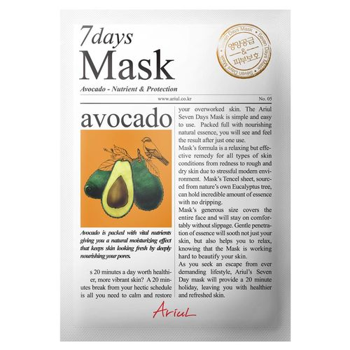 Mască Șervețel 7Days Mask Avocado, Hrănire și Reparare, 20g