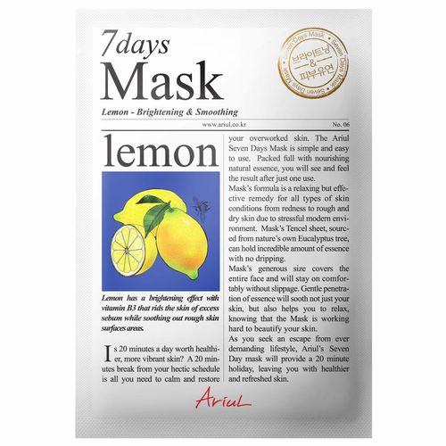 Mască Șervețel 7Days Mask Lămâie, Strălucire și Relaxare, 20g