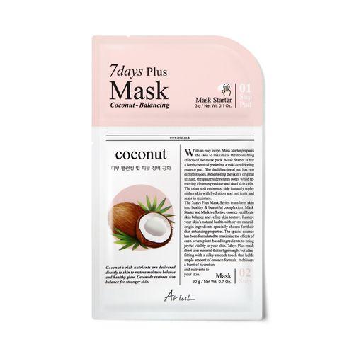 Mască Șervețel Ariul 7Days Plus Mask Coconut, Echilibrare și Reducerea Inflamației, 20+3g