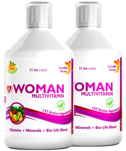 Pachet 2 x Multivitamine Lichide pt Femei cu 147 Ingrediente, 500 ml   Swedish Nutra