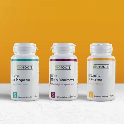 Pachet Vitamine Citrat de magneziu + Vitamina C + MSM