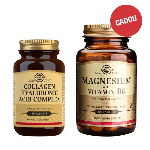 Pachet Collagen Hyaluronic Acid 120mg 30 tablete (Colagen și Acid Hialuronic) + CADOU Magnesium + B6, 100 tablete