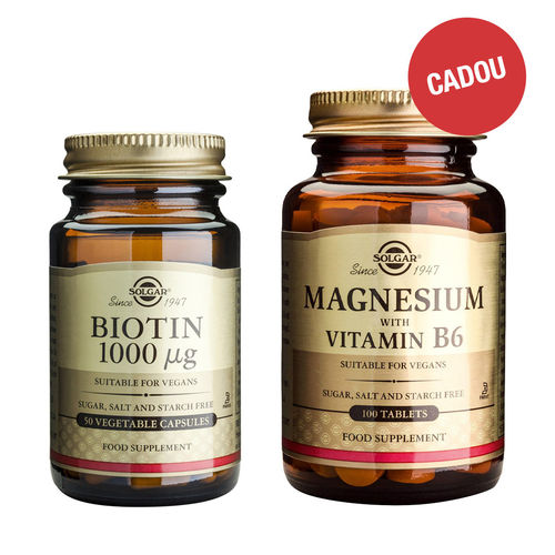 Pachet Biotin 1000mcg, 50 capsule vegetale + CADOU Magnesium + B6, 100 tablete