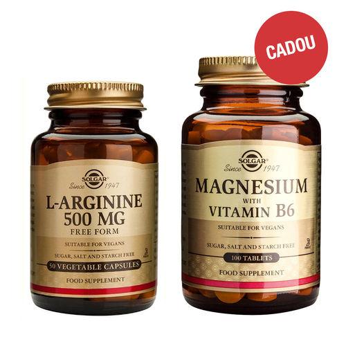 Pachet L- Arginine 500mg 50 capsule + CADOU Magnesium + B6, 100 tablete