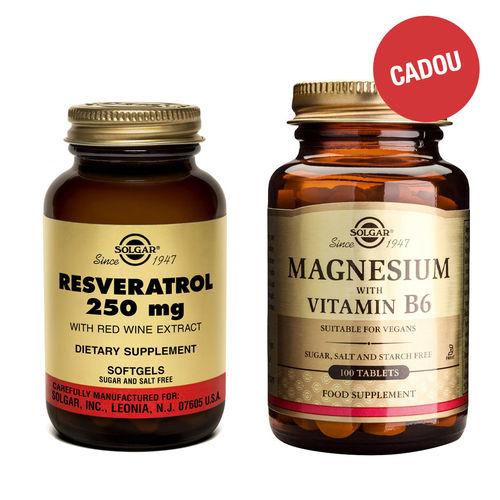 Pachet Resveratrol 250 mg cu Extract de Vin Roșu, 30 capsule + CADOU Magnesium + B6, 100 tablete