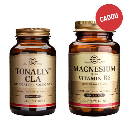 Pachet CLA Tonalin 1300mg, 60 capsule + CADOU Magnesium + B6, 100 tablete