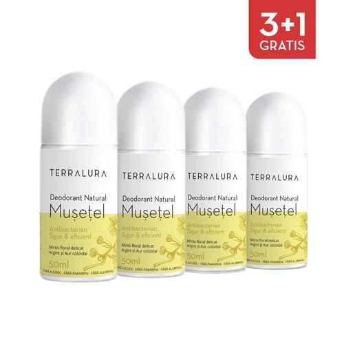 Pachet 3+1 Gratis Deodorant natural roll-on Mușețel