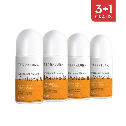 Pachet 3+1 Gratis Deodorant natural roll-on Portocală