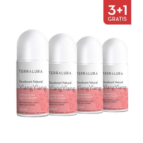 Pachet 3+1 Gratis Deodorant natural roll-on Ylang-Ylang