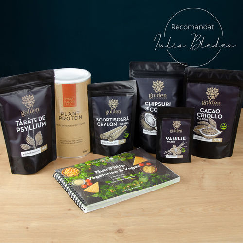Pachet Veg PROTEIN + carte NutriFitUp Vegetarian & Vegan imagine produs 2021 Golden Flavours viataverdeviu.ro