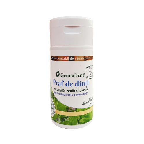 GennaDent Praf de Dinti 100% Natural cu Argilă, Zeolit și Plante, 75g