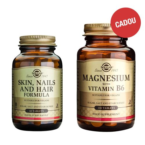 Pachet Skin, Nails and Hair Formula, 60 tablete + CADOU Magnesium + B6, 100 tablete
