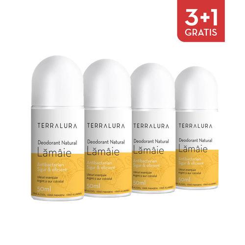 Pachet 3+1 Gratis Deodorant natural roll-on Lămâie