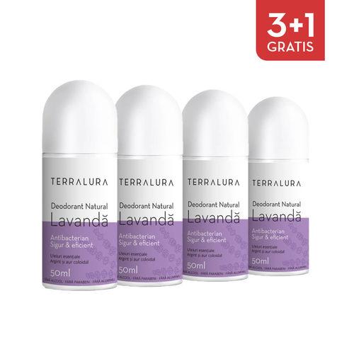 Pachet 3+1 Gratis Deodorant natural roll-on Lavandă