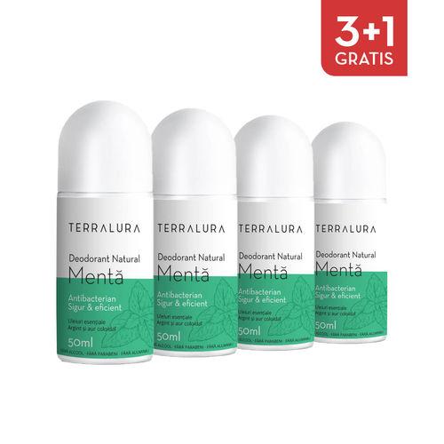Pachet 3+1 Gratis Deodorant Natural roll-on Mentă