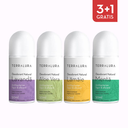 Pachet 3+1 GRATIS Deodorant natural roll-on