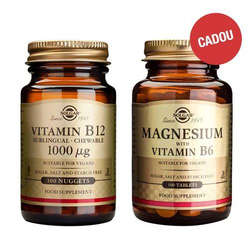 Pachet Vitamina B12 1000mcg, 100 tablete masticabile + CADOU Magnesium + B6, 100 tablete