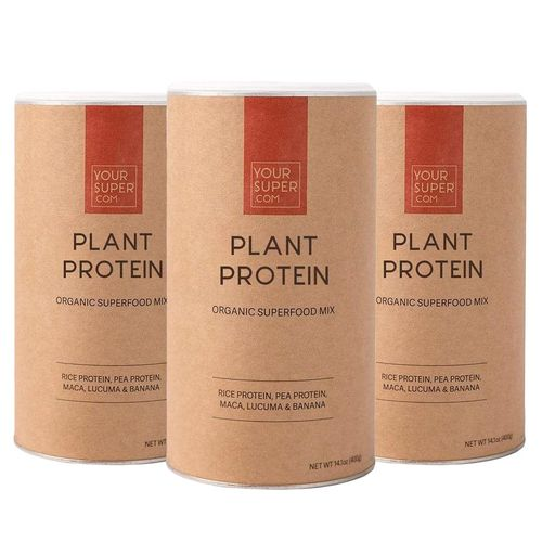 Pachet Cură Completă PLANT PROTEIN Organic Superfood Mix, 3x 400g