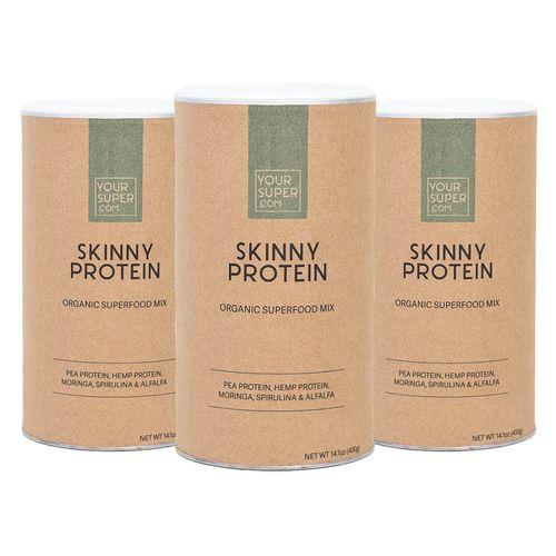 Pachet Cură Completă SKINNY PROTEIN Organic Superfood Mix, 3x 400g