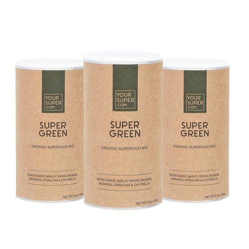 Pachet Cură Completă SUPER GREEN Organic Superfood Mix, 3x 150g