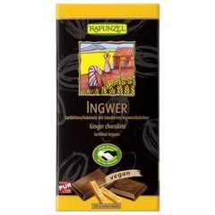 Ciocolată Amăruie cu Ghimbir și 55% Cacao Vegană, 80g | Rapunzel