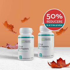 Pachet 1+50% cadou Citrat de magneziu 550mg Bioroots 90 capsule vegetale
