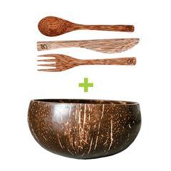 Set Bol din nucă de cocos ecologică + Tacâm din lemn de cocos | Coconut Bowls
