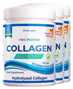 Pachet 3 x Colagen Hidrolizat Pulbere Tip 1, 2 și 3 Active Life cu 10.000 Mg, 300g | Swedish Nutra
