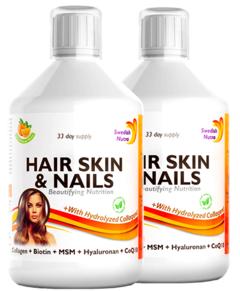 Pachet 2 x Hair Skin & Nails – Colagen Lichid Hidrolizat 1000mg + 27 Ingrediente Active, 500 ml | Swedish Nutra