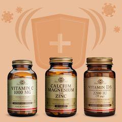 Kit Imunitate Solgar | Vitamina C + Vitamina D + Zinc