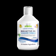 Multivitamine Lichide MAN ACTIVE 50+ pentru Bărbați peste 50 Ani cu 131 Ingrediente, 500 ml | Swedish Nutra