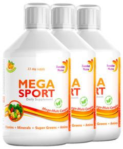 Pachet 3 x MEGA SPORT – Complex Lichid cu 147 Ingrediente Active, 500 ml | Swedish Nutra