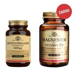 Pachet Methylcobalamin (Vit B12) 1000 μg, 30 tablete + CADOU Magnesium + B6, 100 tablete  | Solgar