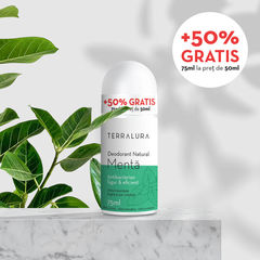 Deodorant Roll-on Natural Mentă, 50ml + 50% GRATIS | Terralura