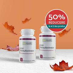 Pachet 1+50% cadou MSM Metilsulfonilmetan 550mg Bioroots 90 capsule vegetale