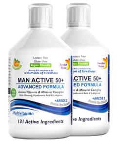Pachet 2 x Multivitamine Lichide MAN ACTIVE 50+ pentru Bărbați peste 50 Ani cu 131 Ingrediente, 500 ml | Swedish Nutra