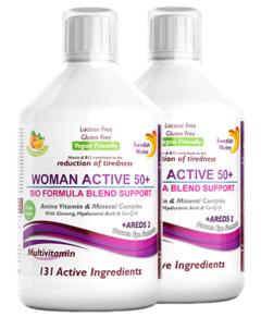 Pachet 2 x Multivitamine Lichide WOMAN ACTIVE 50+ pentru Femeile peste 50 Ani cu 131 Ingrediente, 500 ml | Swedish Nutra
