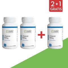 Pachet 2+1 Gratis L-Arginină 500mg, 90 capsule vegetale | Bioroots