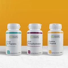 Pachet Vitamine Citrat de magneziu + Vitamina C + MSM | Bioroots