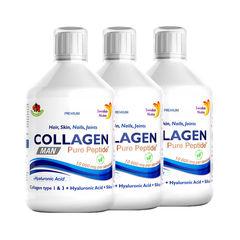 Pachet 3 x Colagen Lichid MAN pentru Bărbați – Hidrolizat Tip 1 si 3 cu 10000Mg cu 9 Ingrediente Active , 500 ml | Swedish Nutra
