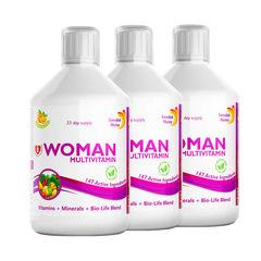 Pachet 3 x Multivitamine Lichide pt Femei cu 147 Ingrediente, 500 ml | Swedish Nutra
