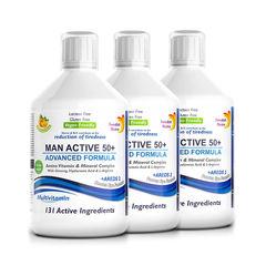 Pachet 3 x Multivitamine Lichide MAN ACTIVE 50+ pentru Bărbați peste 50 Ani cu 131 Ingrediente, 500 ml | Swedish Nutra