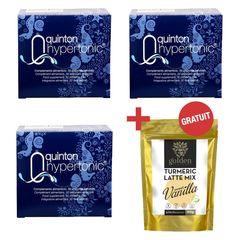 Pachet 3 x Plasma Quinton Hypertonic 30 fiole x 10ml + Turmeric Latte Mix Sweet Vanilla 210g Gratis