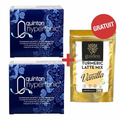 Pachet 2 x Plasma Quinton Hypertonic 30 fiole x 10ml + Turmeric Latte Mix Sweet Vanilla 70g Gratis