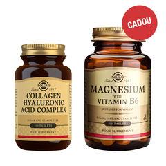 Pachet Collagen Hyaluronic Acid 120mg 30 tablete (Colagen și Acid Hialuronic) + CADOU Magnesium + B6, 100 tablete | Solgar